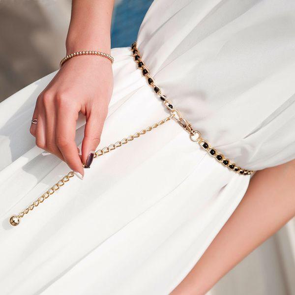 Bycobecy 2019 cintura senza fibbia donne di modo cinghia del vestito vita catena di metallo catena Pearl Cento Multi-color perla sottile