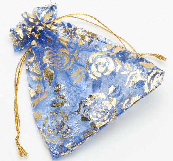 100 Pcs Azul Escuro Rosa Moda Organza Presente Da Jóia Bolsa Sacos 4 TAMANHOS Saco de Cordão de Organza Presente Doces Sacos de Presente DIY Sacos