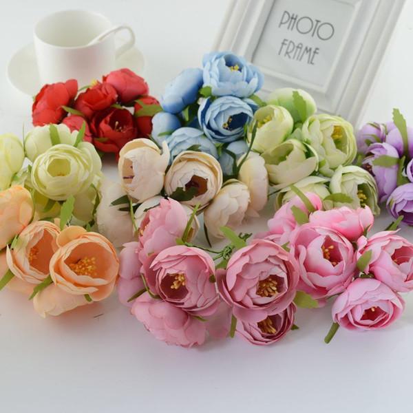 30pcs Silk Tea Bud Artificial Flowers For Wedding Car Decoration Handicraft Diy Bride Bouquet Handmade Wreath Gift Box Stamens