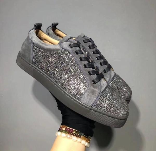 Дизайнерские кроссовки с красным дном Spikes Flat Velours Замшевые кроссовки Iron Grey мужские кроссовки 100% натуральная кожа Вечеринка mn189601
