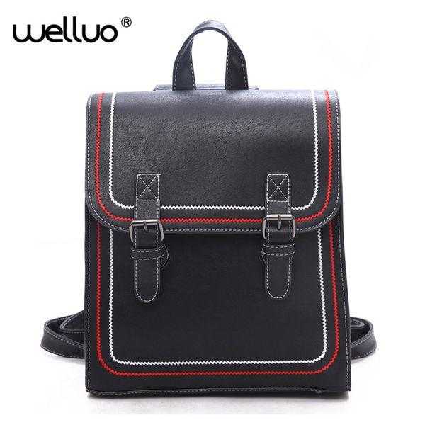 2018 Women Backpack School Bag Leather Backpack Female College Vintage Leisure Travel Rucksack For Girls Book Bag Black XA606WB