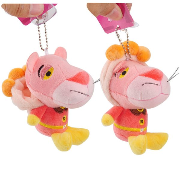 Anpanman Baikinman Pink Panther Plush Toys Keychain Sitting Superman Pink Leopard Panther Animals Stuffed Dolls Pendants 10pcs