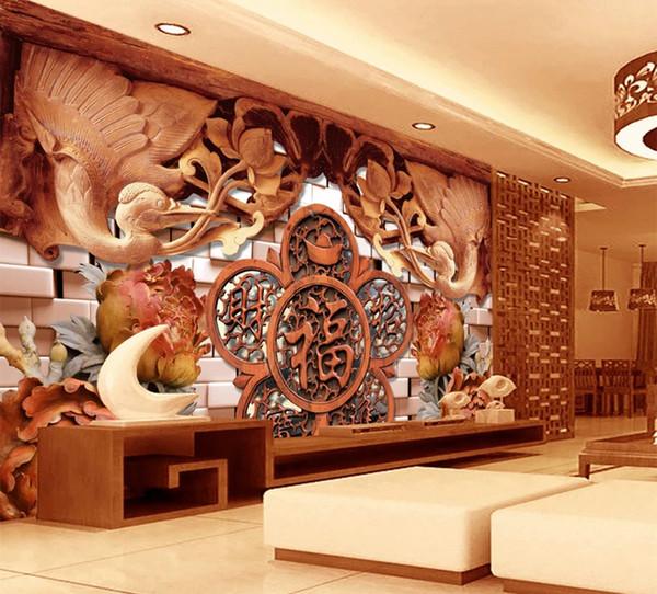 Benutzerdefinierte Wallpaper 3D Superb, Die Besten 3D Holzschnitzerei, Glück Wort Wohnzimmer Schlafzimmer Hintergrund Wanddekoration Wandbild Tapete
