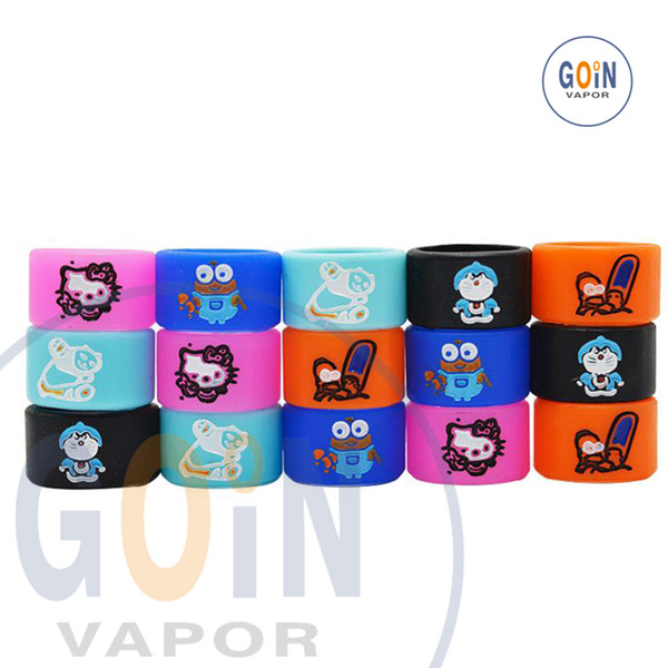 Vape band Silicon Rings Engraved Cartoon Silicone Rubber Protection Decorative Ring For EVOD EGO T Twist Series vape pen band food grade