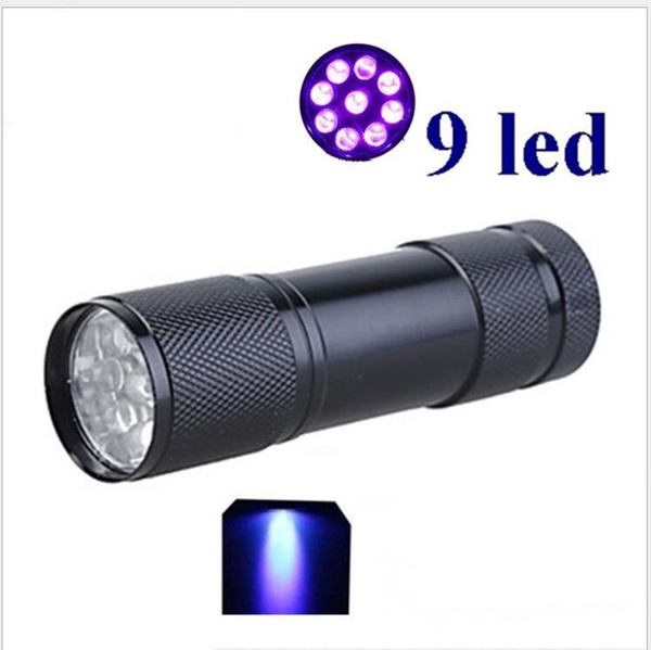 best selling 395nm UV flashlight mini 9 led purple light flashlights toch waterproof aluminium alloy torch Blacklight Detector for Dog Urine Pet Stains