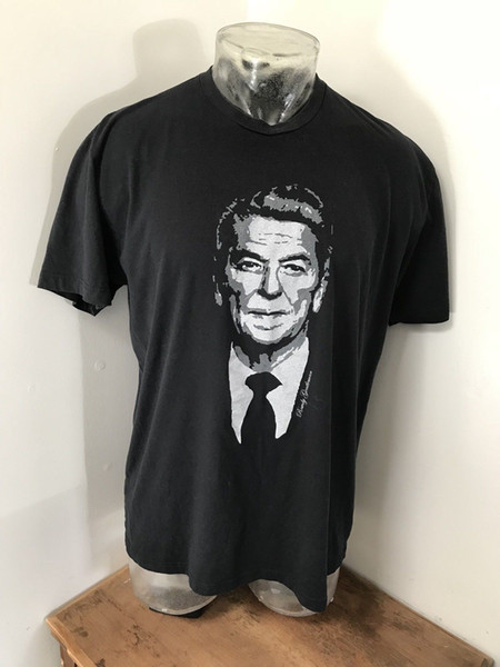 Mens XL ROWDY GENTLEMAN The Vintage Collection Ronald Reagan Tee T Shirt men 2018 new Fashion Printed Fashionable Round