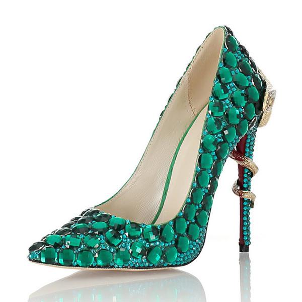 Yeni el yapımı işlemeli yeşil taşlar, Avrupa ve Amerikan deri topuklu, daireler, hançerler, düğün ayakkabıları sivri