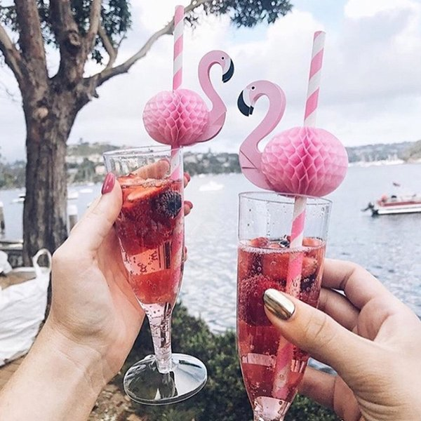 50PCS 3D Flamingo Pink Jungle Paper Drinking Straws Summer pool Straw Birthday Wedding Party Decorations Adult Flamingo Straws GT50