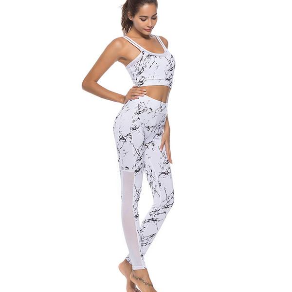 Stampato Fitness Yoga Set donne Abbigliamento da palestra Due pezzi vestito di sport Abbigliamento allenamento Sexy Halter Yoga Wear ropa deportiva mujer # 680747