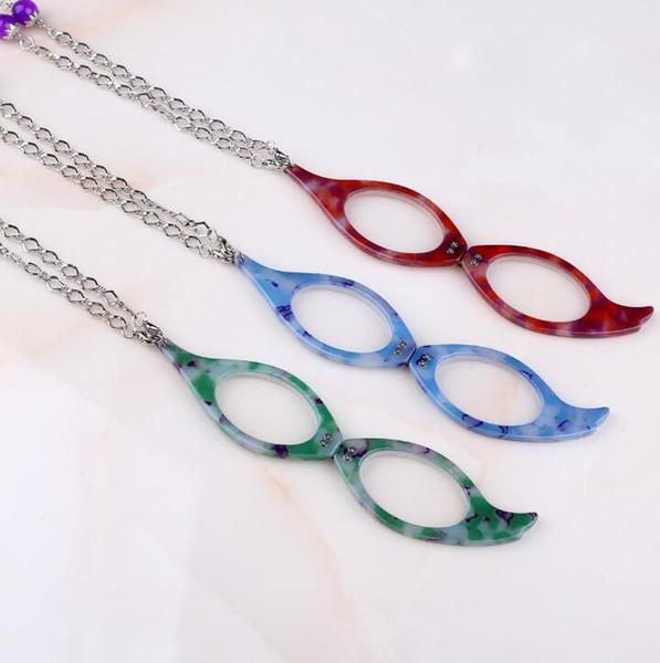 Gafas de lectura de mano Collares Camuflaje Mini lector plegable Plegado Presbicia Hipermetropía Gafas Collares Suéter Cadena T042