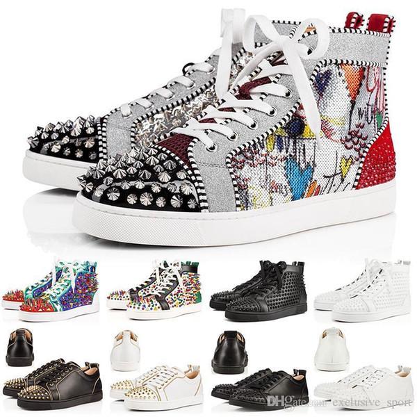 Designer 2019 Chaussures Cloutés Chaussures Flats Chaussures Bas Rouge Hommes Femmes Amoureux De La Fête Véritable Baskets En Cuir Casual Chaussure Taille 36-46