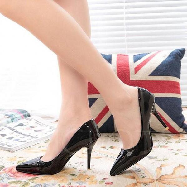 Siyah Pembe Kırmızı Gümüş Klasik Tasarım Sivri Burun Patent Deri Marka Ayakkabı Resmi Yüksek Topuklu Ucuz Düğün Ayakkabı Pompalar