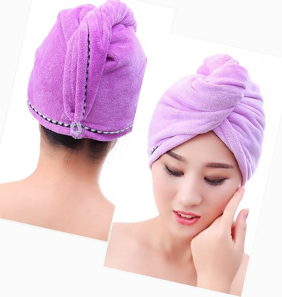 Women Hair Caps Microfiber Dry Hair Bath Towel with Button Absorbent Quick Drying Turban Wrapped Hair Hat Bathroom Accessories YW3324