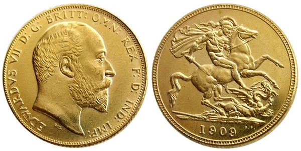 UK Rare 1909 British coin King Edward VII 1 Sovereign Matt 24-K Gold Plated Copy Coins Free Shipping
