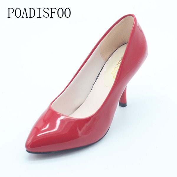 2019 Dress POADISFOO Spring, Red Sexy Party Pumps for women woman shoes for summer New Women's Classic Pumps Shoes for Woman.LSS-708