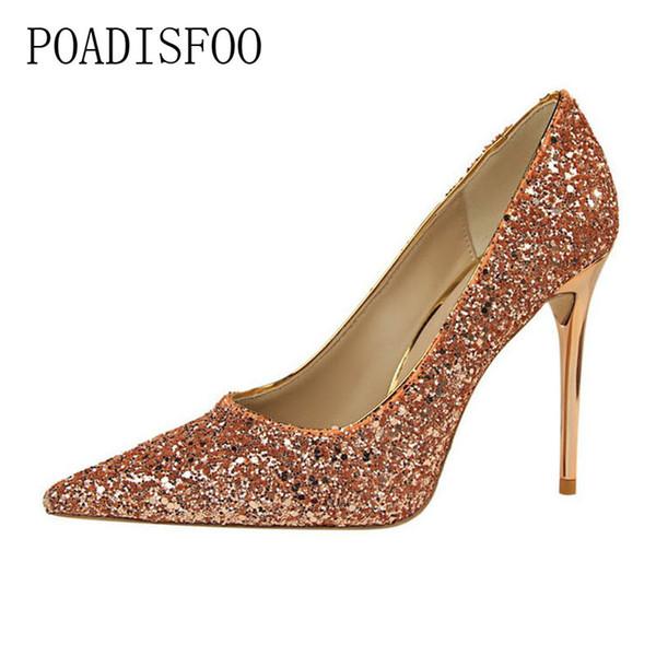 Dress Shoes Poadisfoo 2019 Women Pumps High-heeled Shallow Mouth Sharp Sparkling Sequined Sexy Slim Wedding High Heels .psds-9219-1
