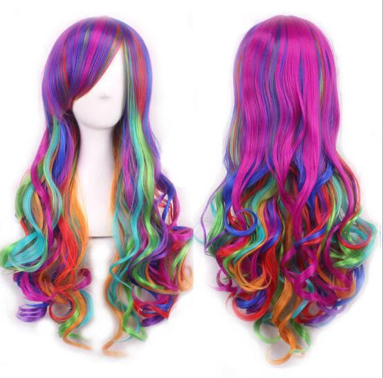 2019 Popular European and American Cartoon Color Gradient Harajuku Multicolor COS Hair Style