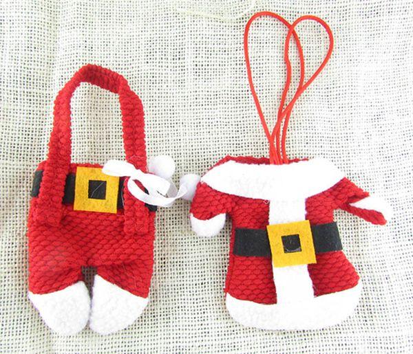 Chirstmas Sofra Tutucu Bıçak Çatal Çatal Seti Etek Pantolon Çatal Seti Seti Çanta Noel Süslemeleri Ev Mutfak Için 2 adet / takım WX9-1101