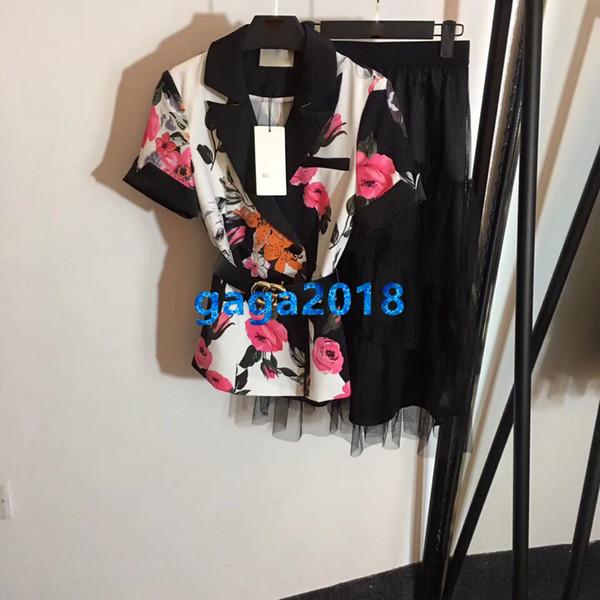 Frauen Mädchen T-Shirt Revers Ausschnitt Blumendruck Blazer Gürtel Top Zweiteiler + Mesh Tiered Midirock High End Custom Runway Set