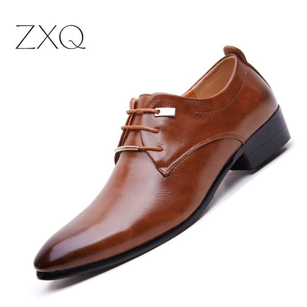 New 2017 Men Business Formal Dress Shoes Oxford Men Leather Shoes Lace-Up Pointed Toe British Style Brown Black #37009