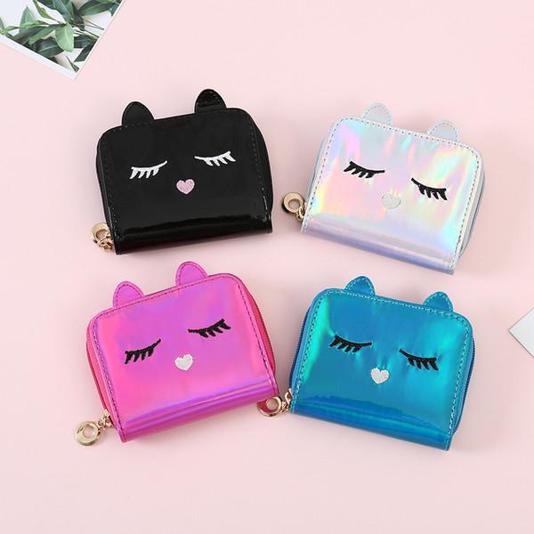 4styles ragazze laser gatto portamonete piccolo breve portafogli ologramma moneta porta carte di credito borsa frizione gatto del fumetto raccoglitore dei capretti regalo FFA1421