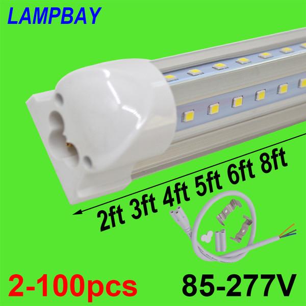 2-100pcs V-förmige LED-Leuchtröhren 2ft 3ft 4ft 5ft 6ft 8ft 270 Winkel Birne T8 Integrierte Leuchte Linkable Bar Lampe Super Bright