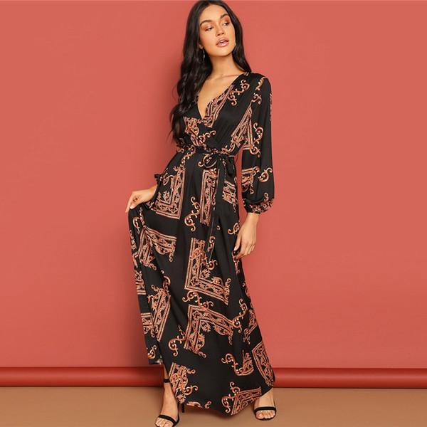 Scarf Print Belted Women Maxi Wrap Dress Elegant A Line Long Party Dresses  2019 Autumn Fit & Flare V Neck Ladies Dress Plus Size Evening Dress Pageant  ...