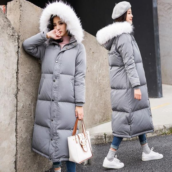 best selling Top Quality 2019 Long Solid Winter White duck down Parka Coat Women Brand Real Fur Thick Hooded Parkas