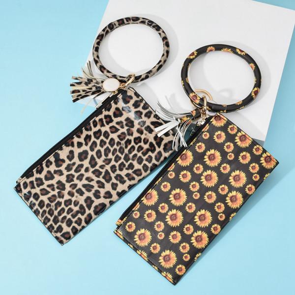 Dominante de la pulsera de piel de leopardo cadena PU de la carpeta Wristr tecla redonda anillo de la borla colgante llavero pulseras pulseras del monedero del embrague LJJA3417-4