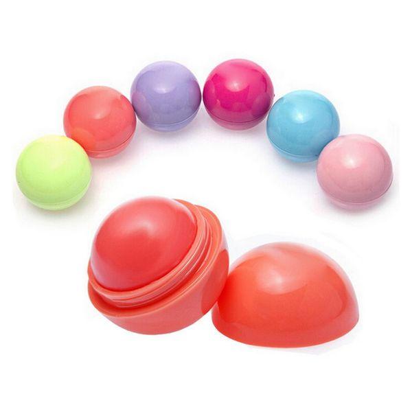 Cute Round Lip Balm Ball Moisturizing Lipstick Fruit Flavor Lip Stick Smacker Lipstick Lipbalm Makeup Tools Lipsmacker