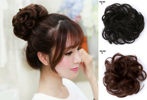 Women Curly Chignon Hair Clip In Hairpiece Extensions Bun for Brides 2 Colors Synthetic High Temperature Fiber Chignon