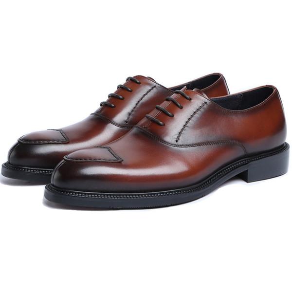 Mode Schwarz / Tan Soziale Schuhe Männer Business Kleid Schuhe Aus Echtem Leder Oxfords Jungen Prom Schuhe