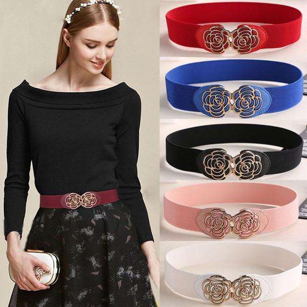 Frauendame Metallic Retro Blume elastisch dehnbar Kleid schmale Taille Gürtel Band rot blau schwarz weiß rosa