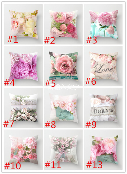 New Nordic American rose Pillow Case Mediterranean car cushion sofa bed pillow cover peach throw pillow cushion luxury A05