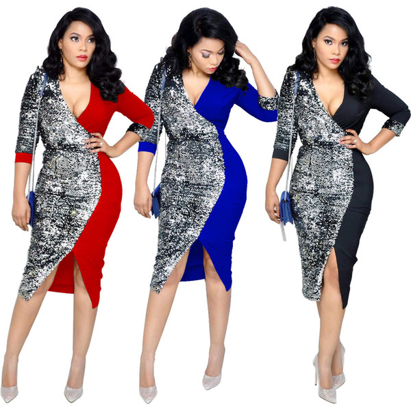 Women's Dress 2019 New Casual Midi Dress V-neck Fashion Panelled Dresses Sexy Constract Color Style Multi-color Optional Size S-XL