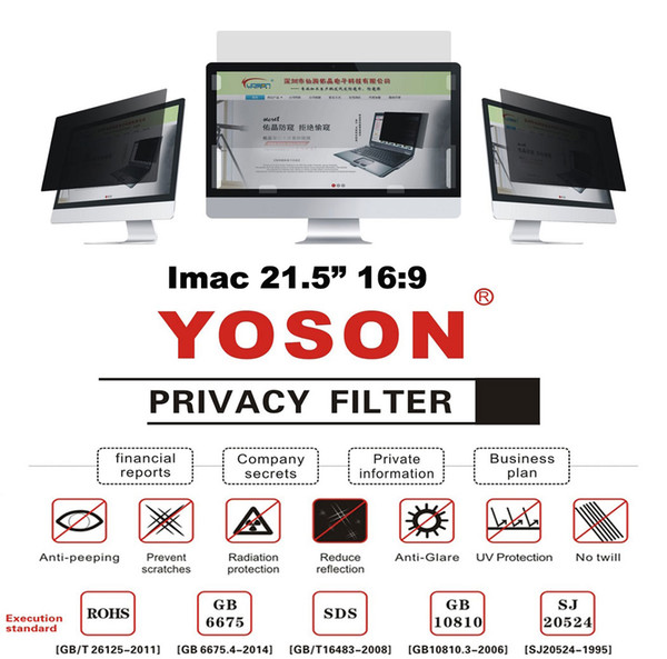 """21.5"""" Privacy Filter Screens Protective Film For Imac 16:9 Ratio 47.65*26.8cm"""