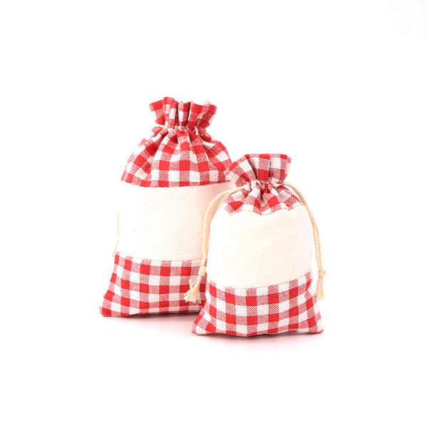 2pcs/lot Lovely Pink and White Grid Style Cotton Bags 13x18cm Jointing Color Fashion Jewelry Happy Candy Handmade Gift Package