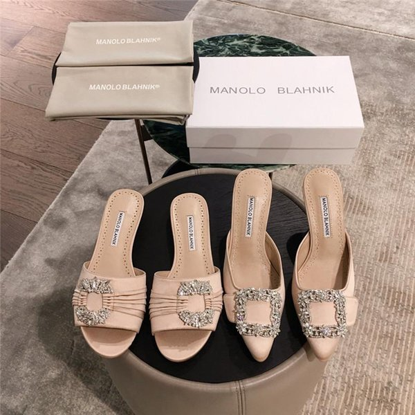 Mulheres chinelos desgaste exterior new toe cetim fundo plano com decoração de strass decorativo ocre applique Baotou saltos altos