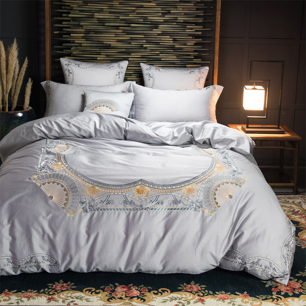 Grey Green Oriental Embroidery Luxury Bedding Sets King/Queen Size Bed set Egyptian cotton Bed sheet Duvet Cover set Pillowcases