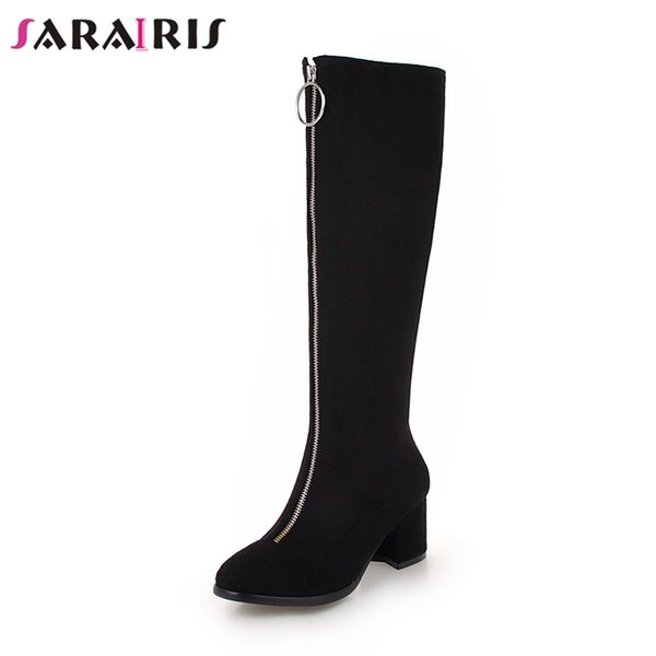 SARAIRIS 2019 Spring New Brand Women Zipper Knee High Boots Ladies Plus Size 34-45 Black High Wide Heels Shoes Woman