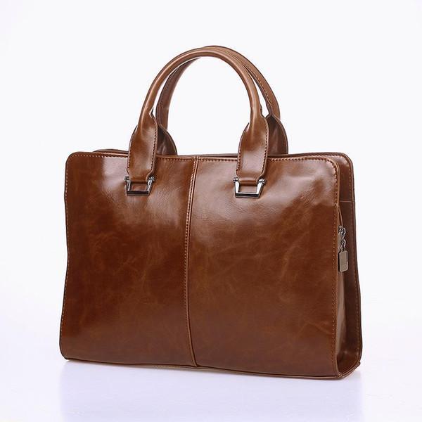 Crazy Horse PU Leather Mens Briefcase Vintage Men Messenger Bags Shoulder Bags For Men Business Mens Handbag Male Laptop Bag