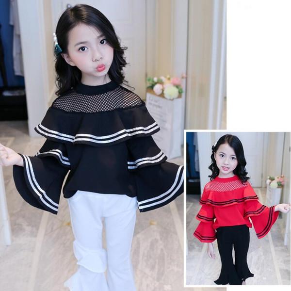 Ragazze del bambino Rosso Bianco vestiti adolescenti nero Baby T-shirt bambini I bambini increspature a strisce lunghe del manicotto della ragazza top e camicetta JW3647