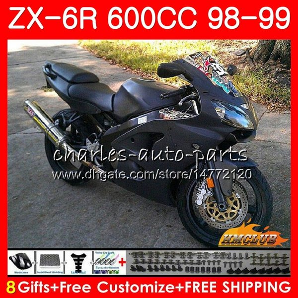 Black Complete Fairing Kit For Kawasaki ninja 1998 1999 ZX6R Motobike Parts ZX636 98 99 ZX 6R ZX-6R 636 Fairings set