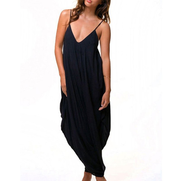 Women Jumpsuit Solid Suits Baggy For Neck Summer/Beach/Party Loose Women Tracksuit Fit V Girl Jumpsuit Harem Romper