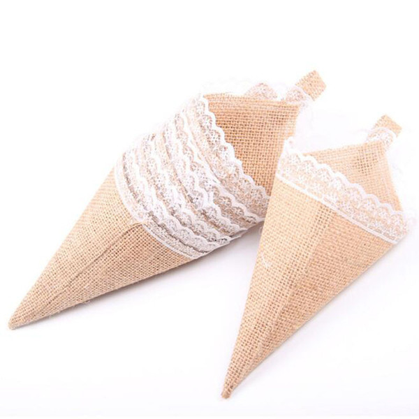 Burlap Jute Pew Cone Flower Holder Christmas Rustic Wedding Centerpieces Vintage Wedding Decoration Fast Shipping ZC0592