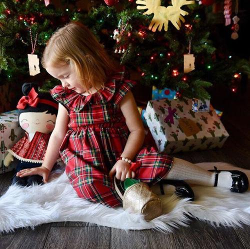 Natale Baby Girls Dress Toddler Bambini Xmas Party Wedding Princess Bow Red Checked Tutu Abiti 1-6T Bambini vestiti vestito