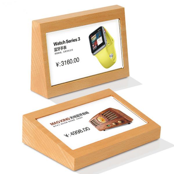 90 * 54 mm de alta Acrílico Painel Slant Back Design Display de madeira Racks Menu Tabela Stand Titular Stand Price Tags de sinal de papel