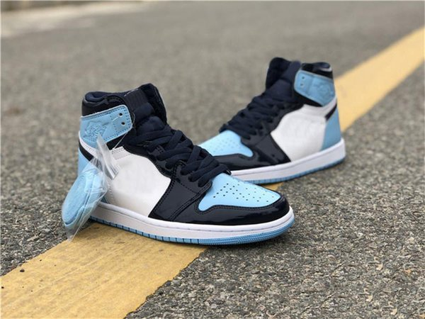 2019 Authentic Air High OG 1 Retro UNC Patent Basketball Shoes Snekaers WMNS ASG Obsidian Blue Chill White CD0461-401 With Box 5-12