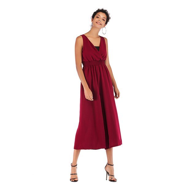 in stock Women Loose Jumpsuits Rompers Casual Chiffon Capris Pants V-Neck Elastic High Waist Pure Color Suit with Black Wrapped Chest