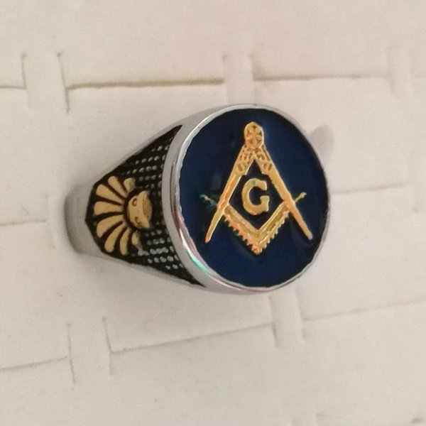 2019 316 Stainless Steel Dark Blue Enamel Compass And Square Lodge Masonic  Regalia Signet Ring Jewel Gold Silvr Fraternity Men Masonic Item Gifts From